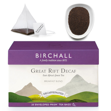 Birchall Great Rift Decaf Tea - decaffeinated black tea, 20 enveloped prism tea bags