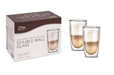 Double Wall Thermal Glasses with Handle, 2 x 350 ml
